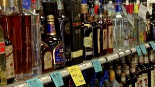 alcohol liquor bottles on store shelves