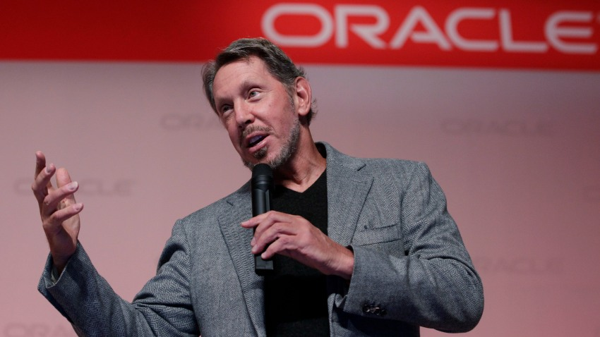 In this Sept. 26, 2011, file photo, Oracle CEO Larry Ellison speaks at the SPARC SuperCluster conference at Oracle headquarters in Redwood City, Calif.