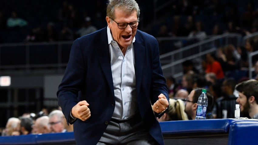 Connecticut head coach Geno Auriemma cheers during the second half of an NCAA college basketball game against DePaul on Monday, Dec. 16, 2019 in Chicago, Illinois.