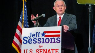 Jeff Sessions addresses the crowd at his watch party following Alabama's state primary, Tuesday, March 3, 2020, in Mobile, Ala.