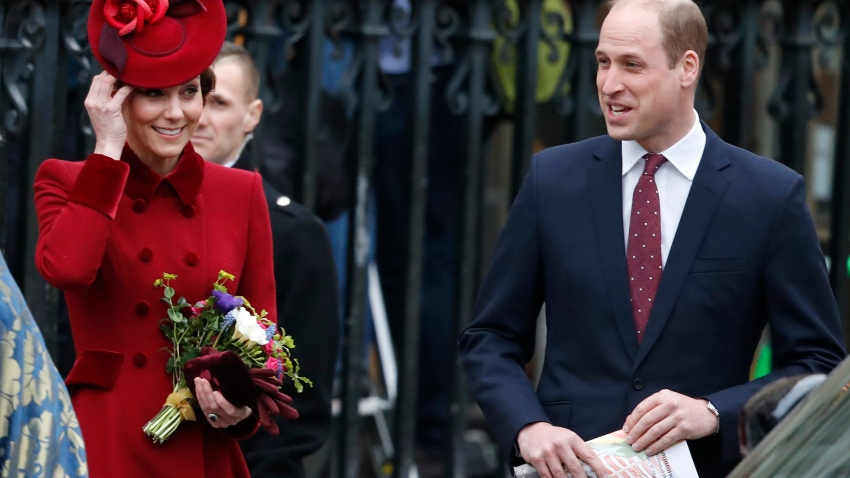 Britain's Prince William and Kate the Duke and Duchess of Cambridge leave after attending the annual Commonwealth Day service at Westminster Abbey in London, Monday, March 9, 2020.