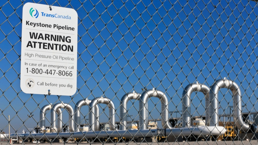 ile photo shows the Keystone Steele City pumping station, into which the planned Keystone XL pipeline is to connect to