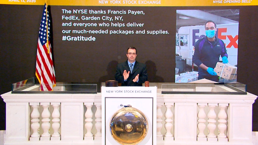 On behalf of The New York Stock Exchange, Robert Glorioso, Chief of Building Engineering Operations, rings The Opening Bell on Monday, April 13, 2020 in New York.