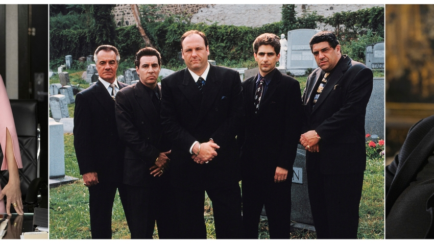 """This combination photo shows Julia Louis-Dreyfus in """"Veep,"""" from left, Tony Sirico, Steve Van Zandt, James Gandolfini, Michael Imperioli and Vincent Pastore from """"The Sopranos,"""" and Brian Cox from """"Succession."""""""