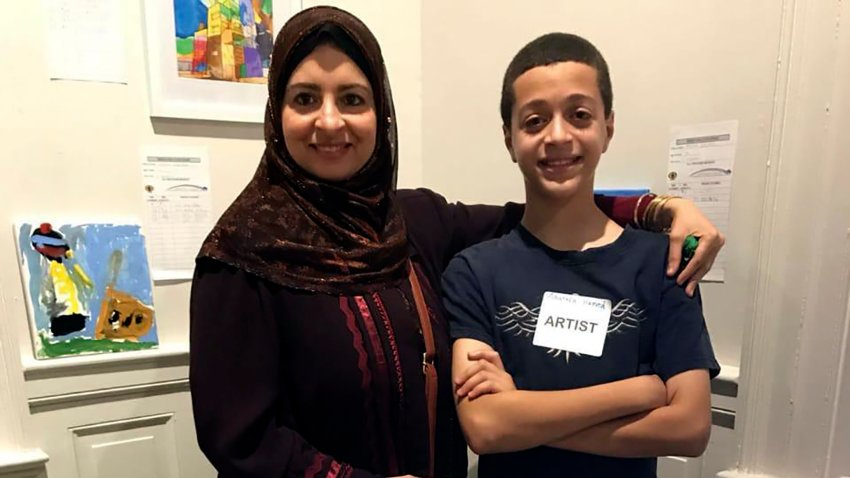 Reem Desouky, 47, seen with her 13-year-old son Mustafa Hamed in Lancaster, Pennsylvania. The American schoolteacher imprisoned in Egypt for nearly a year without trial has been freed by Egyptian authorities and returned home to the United States, the State Department said on Monday, May 4, 2020.