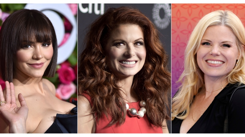 """This combination of photos shows, from left, Katharine McPhee, Debra Messing and Megan Hilty, who will reunite May 20 to present a stream of the one-night-only 2015 Broadway concert of the musical within the TV show """"Smash."""" In the series, Hilty and McPhee played feuding actresses hoping to play Marilyn Monroe."""