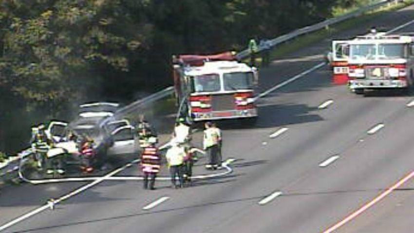 Car fire on Interstate 95 in Westport