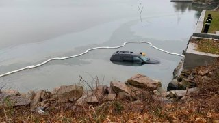 Vehicle in water in Branford