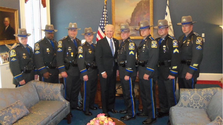Connecticut state troopers and Vice President Joe Biden