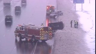 Vehicle rolled over and another turned around on I-91. Emergency vehicles are at the scene.