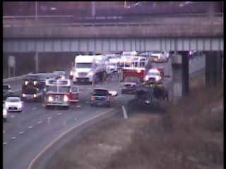 Scene of a car crash on Interstate 91 in Cromwell