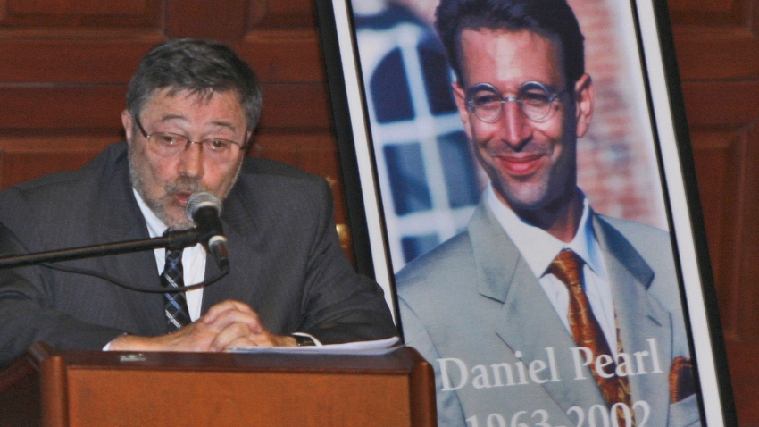 In this April 15, 2007, file photo, Dr. Judea Pearl, father of American journalist Daniel Pearl, who was killed by terrorists in 2002, speaks in Miami Beach, Fla. A Pakistani court on Thursday, April 2, 2020, overturned the murder conviction of a British Pakistani man found guilty of the kidnapping and murder of Wall Street journalist Daniel Pearl.