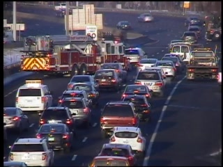 Traffic on Interstate 84 West in East Hartford after a crash