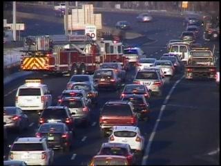 Traffic on Interstate 84 West in East Hartford after a crash