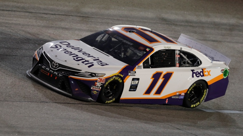 Denny Hamlin (11) drives during the NASCAR Cup Series auto race Wednesday, May 20, 2020, in Darlington, S.C.