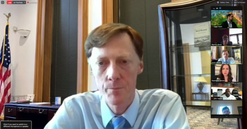 New Haven mayor Justin Elicker on Zoom call
