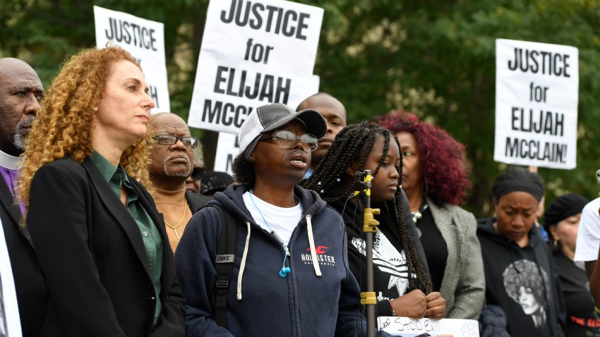 In this Oct. 1, 2019, file photo, Sheneen McClain, center, mother of Elijah McClain, speaks during a press conference in front of the Aurora Municipal Center.