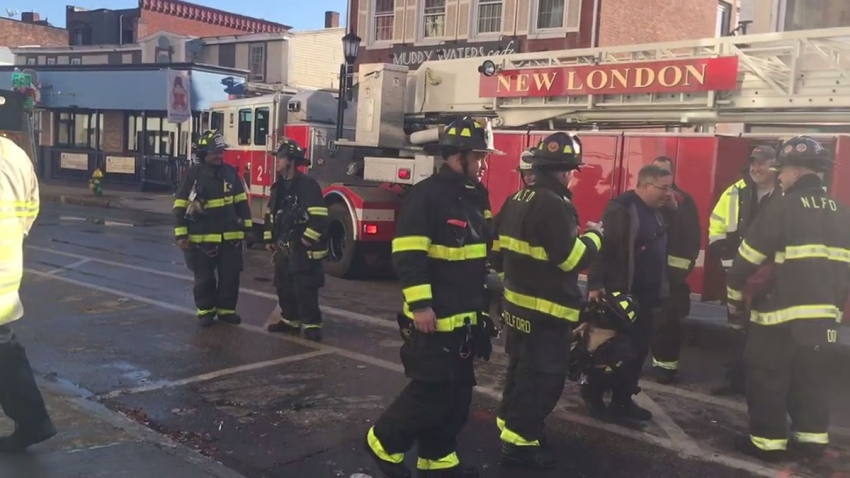 Firefighters at scene of fire in New London