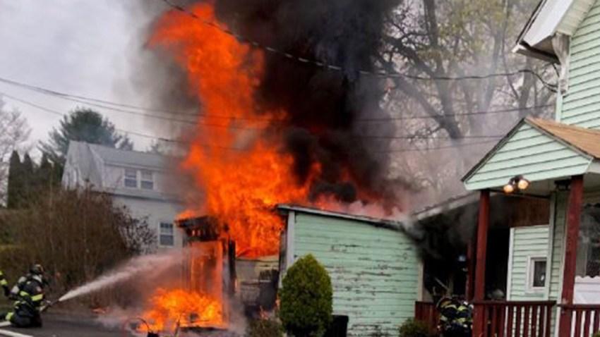 Fire in garage in Hamden