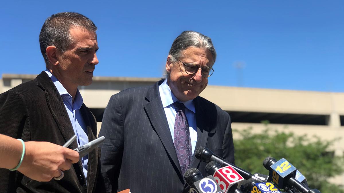 Fotis Dulos and Norm Pattis speak outside court