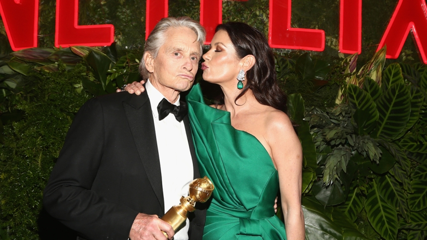 In this file photo, Michael Douglas (L) and Catherine Zeta-Jones attend the Netflix 2019 Golden Globes After Party on January 6, 2019 in Los Angeles, California.