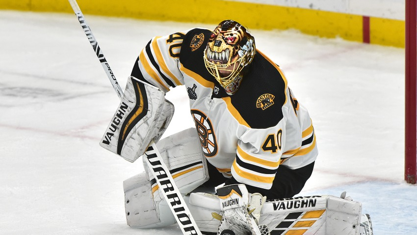 Boston Bruins goalie Tukka Rask scoops up a loose puck during Game 6 of the Stanley Cup Final between the Boston Bruins and the St. Louis Blues, on June 9, 2019, at Enterprise Center, St. Louis.