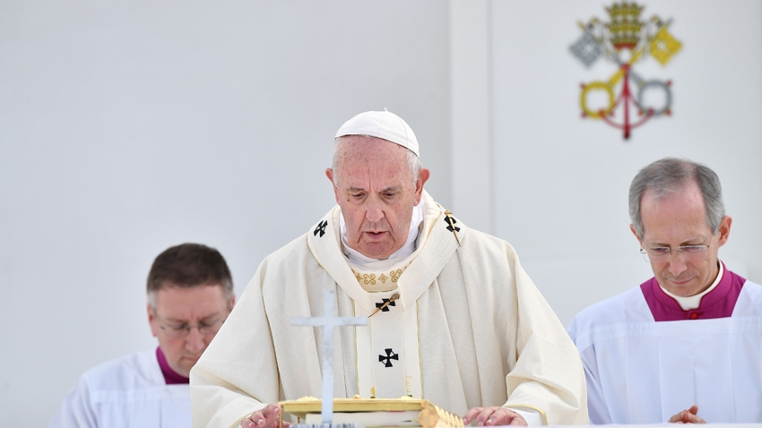 In this file photo, Pope Francis holds a Holy Mass at a baseball stadium in Nagasaki on November 24, 2019.