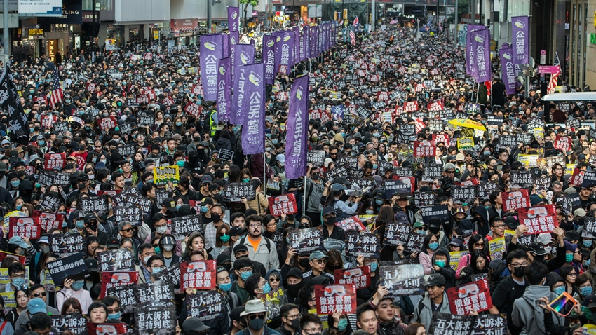 Hong Kong Demonstrators Gather for Mass March As Protest Momentum Faces Test
