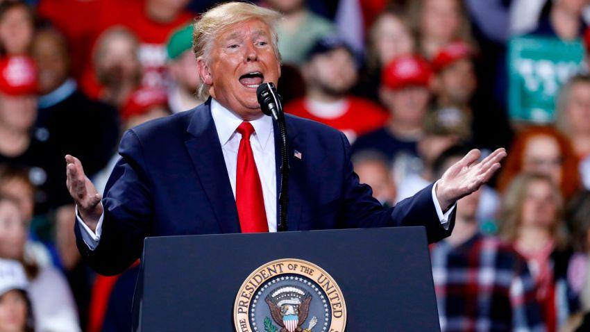 President Donald Trump at Battle Creek, Michigan rally