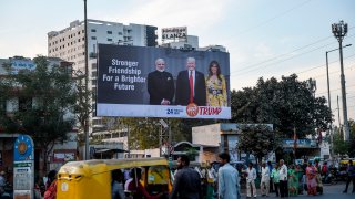 An ad showing President Donald Trump and Indian Prime Minister Narendra Modi