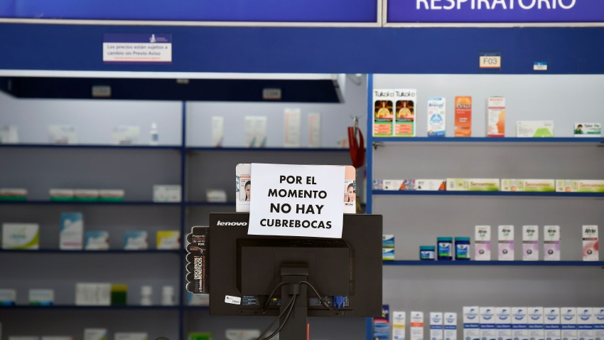View of a drugstore in front of the National Institute of Respiratory Diseases in Mexico City.