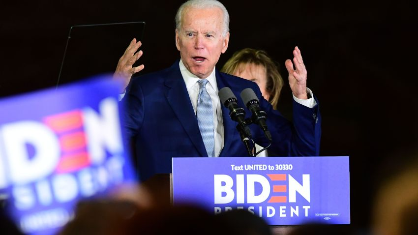 Democratic presidential hopeful former Vice President Joe Biden addresses a Super Tuesday event in Los Angeles on March 3, 2020.
