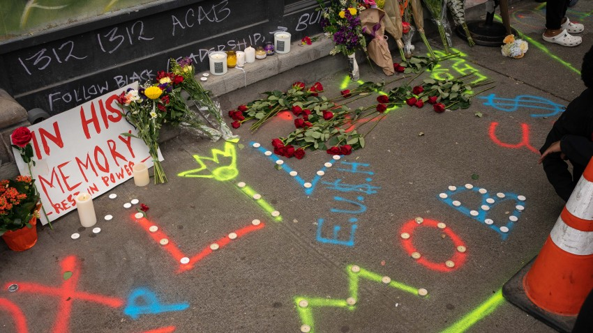 A memorial for someone named Lorenzo is seen near the site where he was killed adjacent to the protest area known as CHOP on June 20, 2020 in Seattle, Washington. The Seattle Police Department said that a fatal shooting occurred in the early morning hours of Saturday at the intersection of East Pine Street and 10th Avenue, which is on the edge of CHOP.