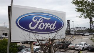 A sign sits outside of Ford's Chicago Assembly Plant on May 20, 2020 in Chicago, Illinois.