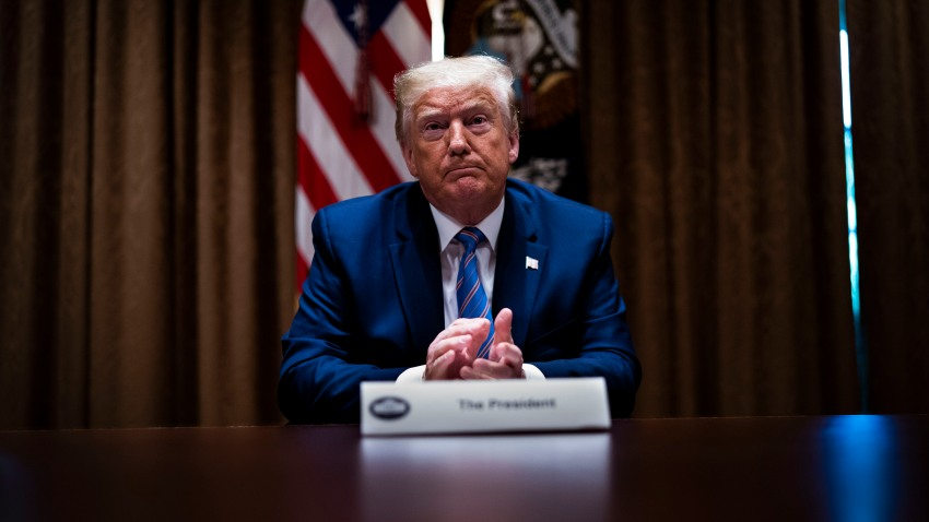 "U.S. President Donald Trump listens during a roundtable on ""Fighting for America's Seniors"" at the Cabinet Room of the White House June 15, 2020 in Washington, DC."