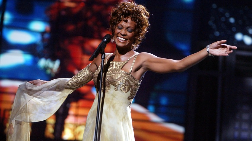Singer Whitney Houston on stage during the 2004 World Music Awards at the Thomas and Mack Center on Sept. 15, 2004, in Las Vegas.