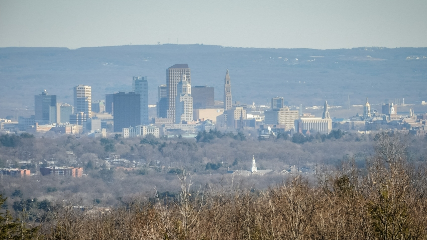 The skyline of Hartford rising above the Connecticut River Valley