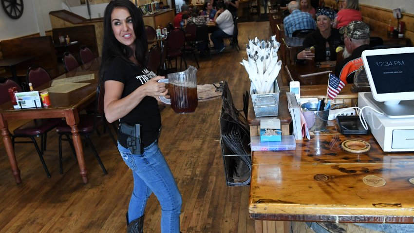 Lauren Boebert, owner of the Shooters Grill, has gained national attention for her decision to encourage her staff to carry a firearm during work on May 29, 2018 in Rifle, Colorado.