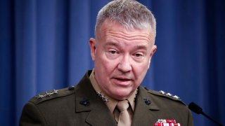 """In this April1 14, 2018, file photo, then-Marine Lt. Gen. Kenneth """"Frank"""" McKenzie speaks during a media availability at the Pentagon in Washington."""