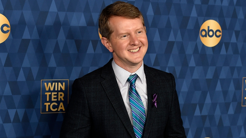 "In this Jan. 8, 2020, file photo, Ken Jennings, a cast member in the ABC television series ""Jeopardy! The Greatest of All Time,"" poses at the 2020 ABC Television Critics Association Winter Press Tour in Pasadena, California."