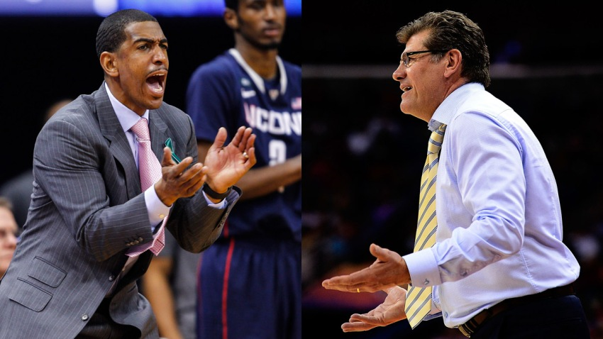 Kevin Ollie and Geno Auriemma 2
