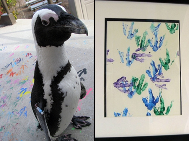 Painting by penguins