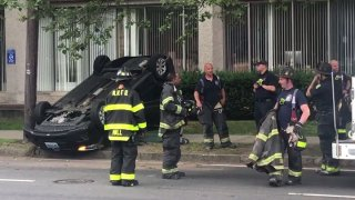 A car rolled over in New Haven