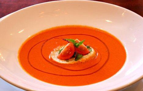 Romesco tomato soup with goat cheese