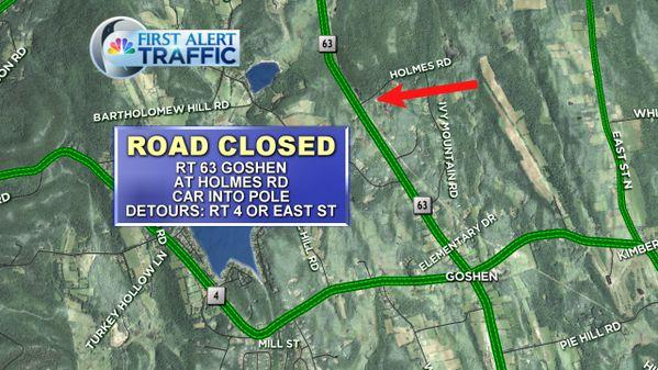 Route 63 in Goshen closed