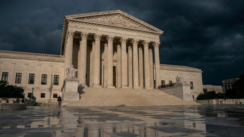 This file photo taken June 20, 2019, shows the Supreme Court under stormy skies in Washington.