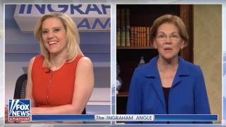 Kate McKinnon as Fox News host Laura Ingraham and Elizabeth Warren as herself