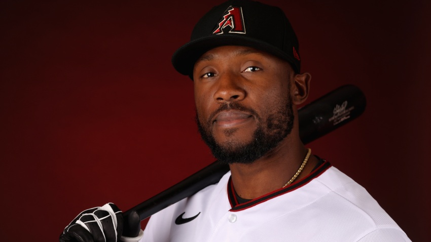 In this Feb. 21, 2020, file photo, Starling Marte #2 of the Arizona Diamondbacks poses for a portrait during MLB media day at Salt River Fields at Talking Stick in Scottsdale, Arizona.
