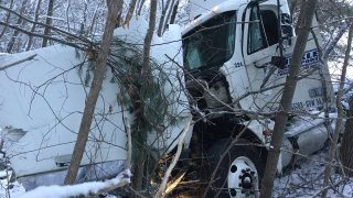 Truck over guard rail Tolland Alertjpg