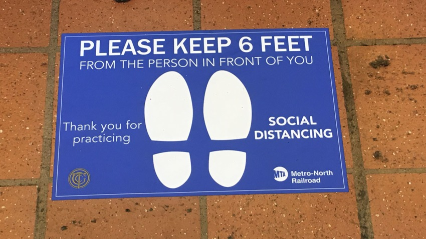 Social distancing markers at Union Station